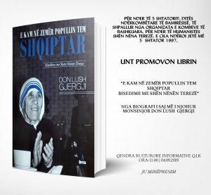 UNT do të promovojë librin – 'E kam në zemër popullin tem shqiptar – Bisedime me Shën Nënën Terezë'  të autorit Monsinjor Dom Lush Gjergji